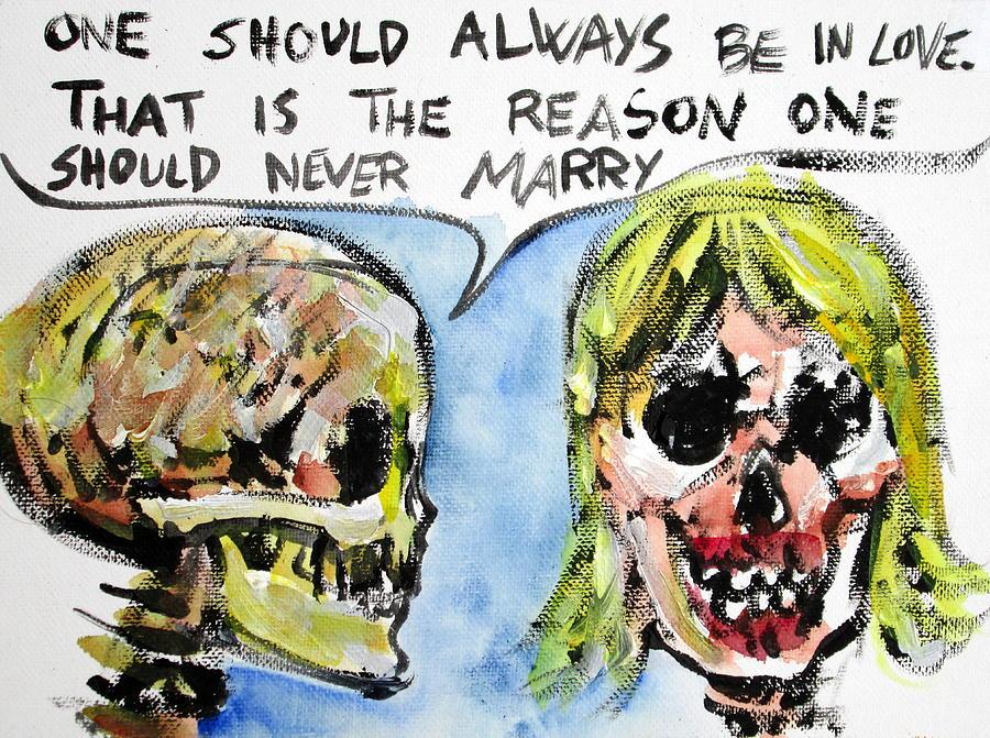 Skull Painting - Skull Quoting Oscar Wilde.5 by Fabrizio Cassetta