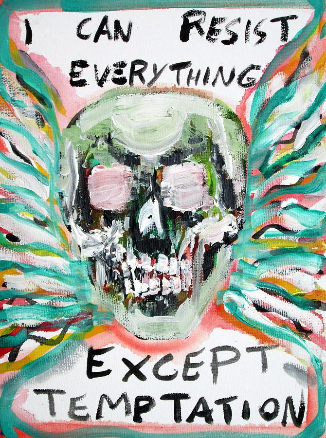 Skull Painting - Skull Quoting Oscar Wilde.7 by Fabrizio Cassetta