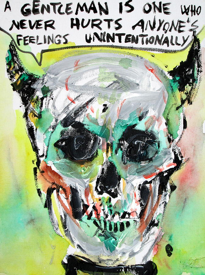 Skull Painting - Skull Quoting Oscar Wilde.8 by Fabrizio Cassetta