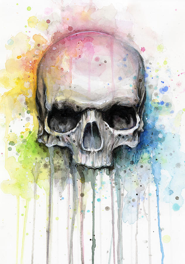 Skull Painting - Skull Watercolor Painting by Olga Shvartsur