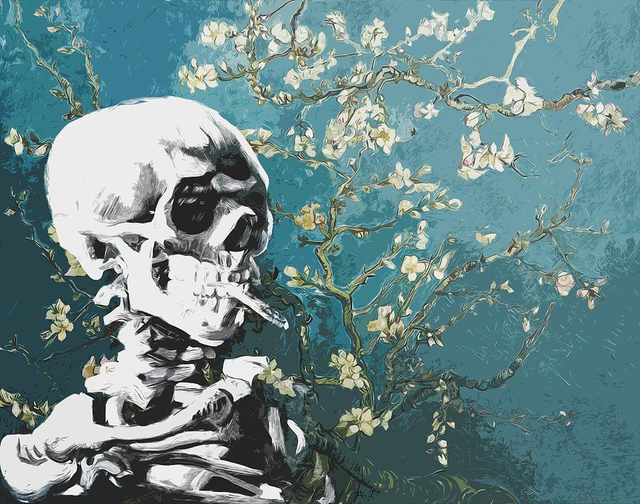 Vincent Digital Art - Skull With Burning Cigarette On Cherry Blossom by Filippo B