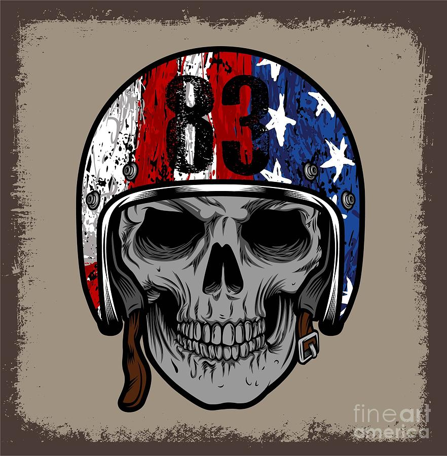 Engraving Digital Art - Skull With Retro Helmet And American by Ixies