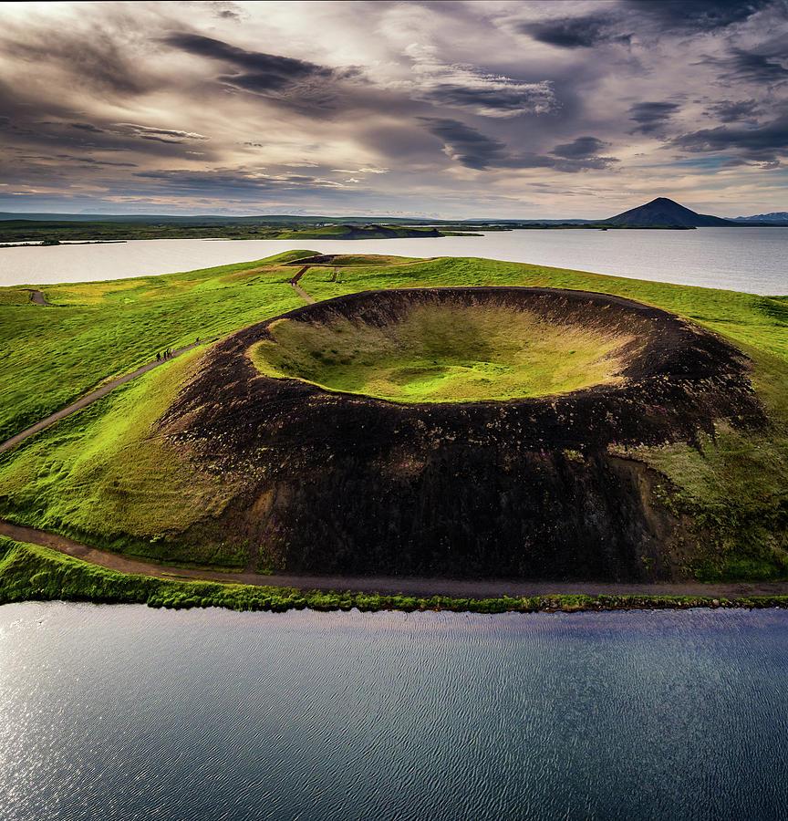 Vertical Photograph - Skutustadagigar Pseudo Craters, Lake by Panoramic Images