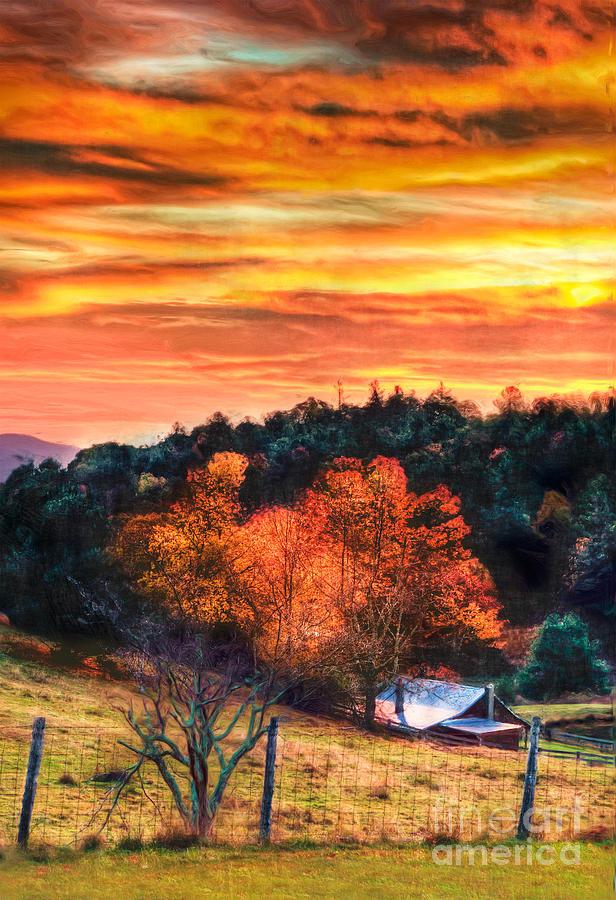 North Carolina Painting - Sky Ablaze - Blue Ridge Sunrise II by Dan Carmichael