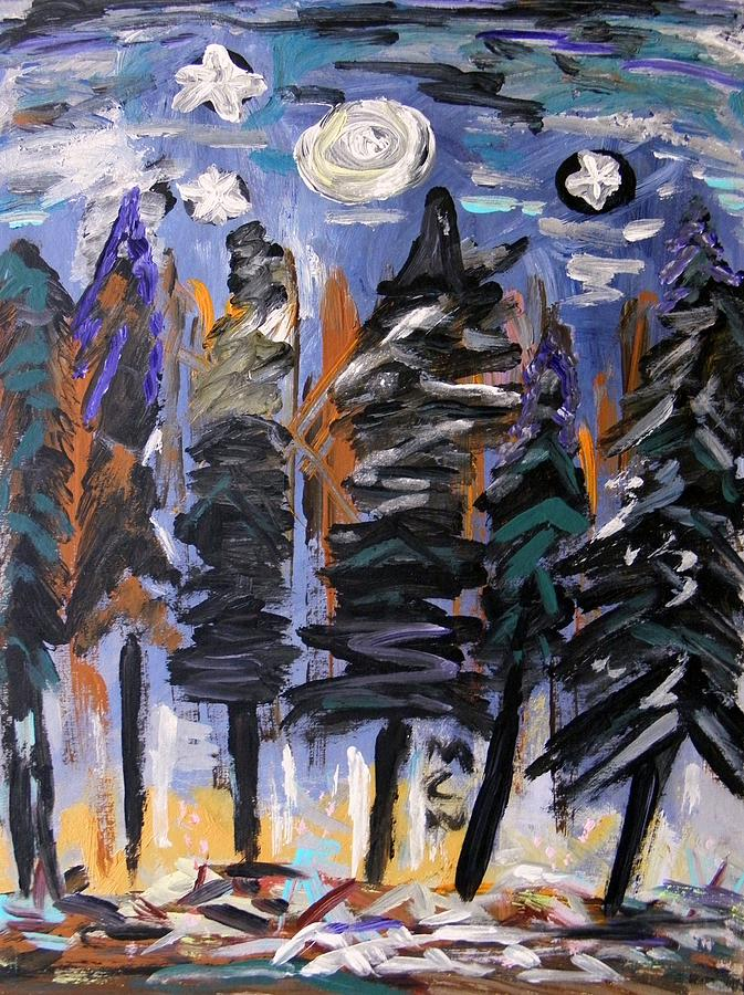 Stars Painting - Sky Above The Forest by Mary Carol Williams