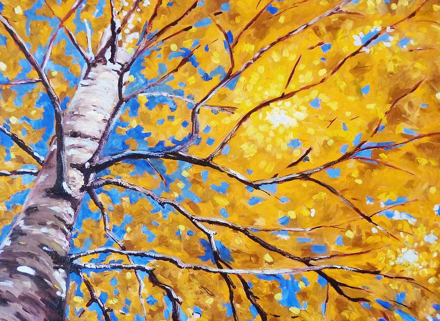 Birch Tree Painting - Sky Birch by Nancy Merkle