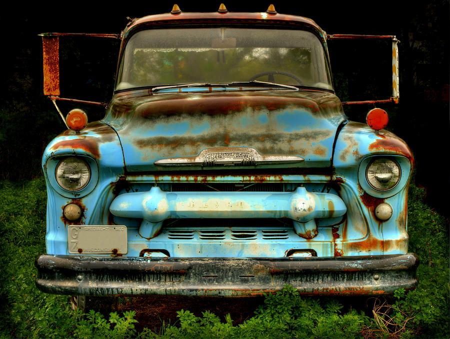 Old Chevy Truck Photograph - Sky Blue And Still Cool by Thomas Young
