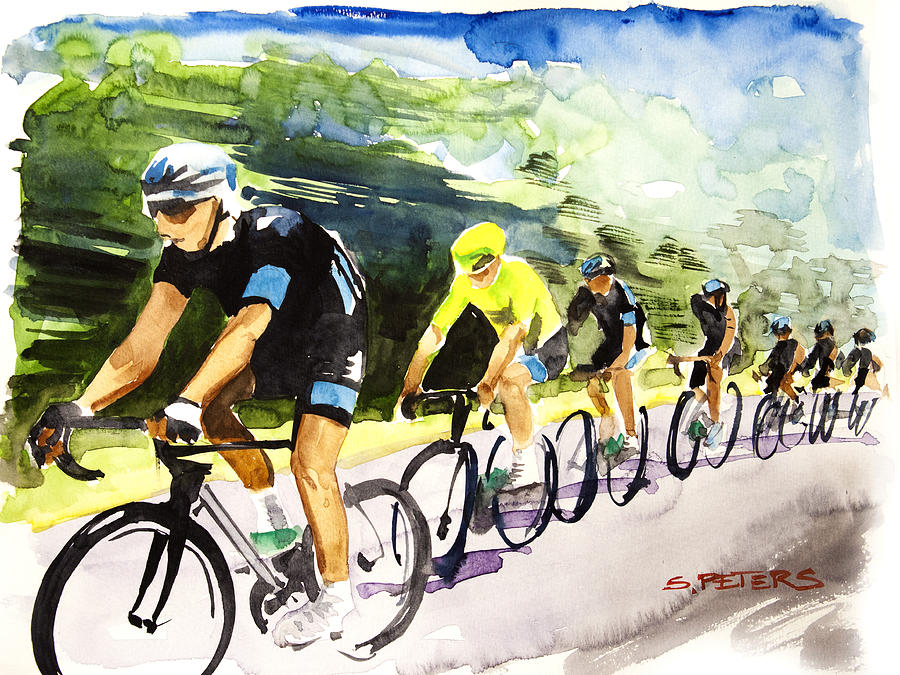Le Tour De France Painting - Sky Blue With Yellow by Shirley  Peters
