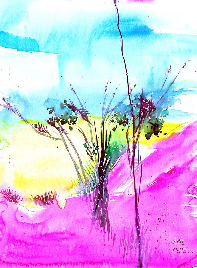 Flower Painting - Sky Fall by Anil Nene