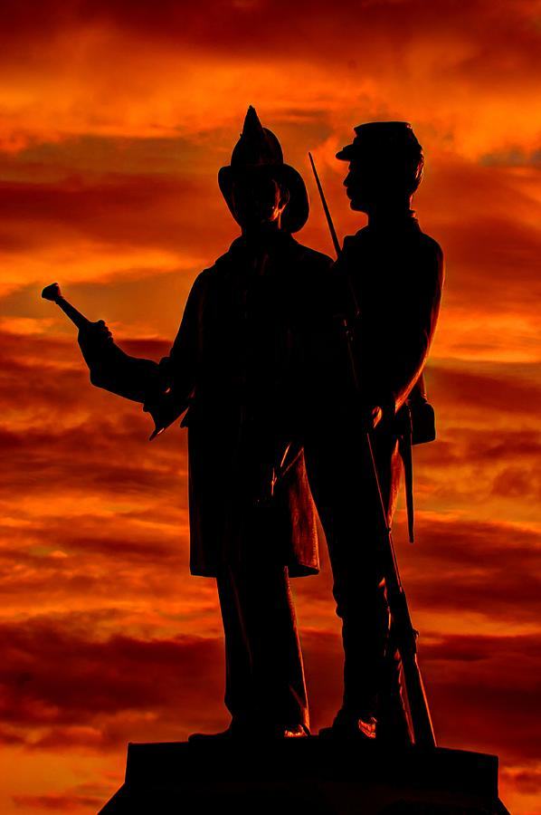 Civil War Photograph - Sky Fire - 73rd Ny Infantry Fourth Excelsior Second Fire Zouaves-b1 Sunrise Autumn Gettysburg by Michael Mazaika