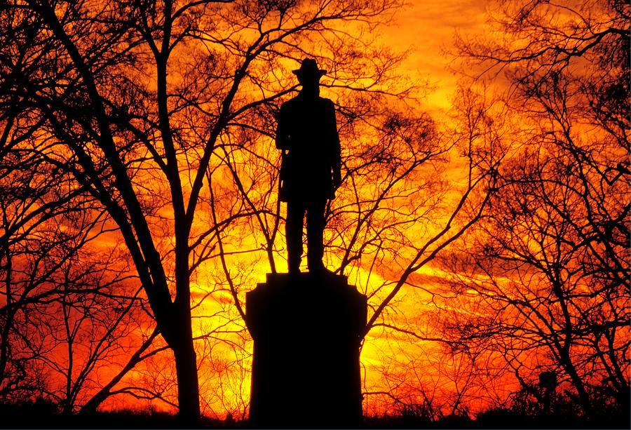Civil War Photograph - Sky Fire - Flames Of Battle 50th Pennsylvania Volunteer Infantry-a1 Sunset Antietam by Michael Mazaika