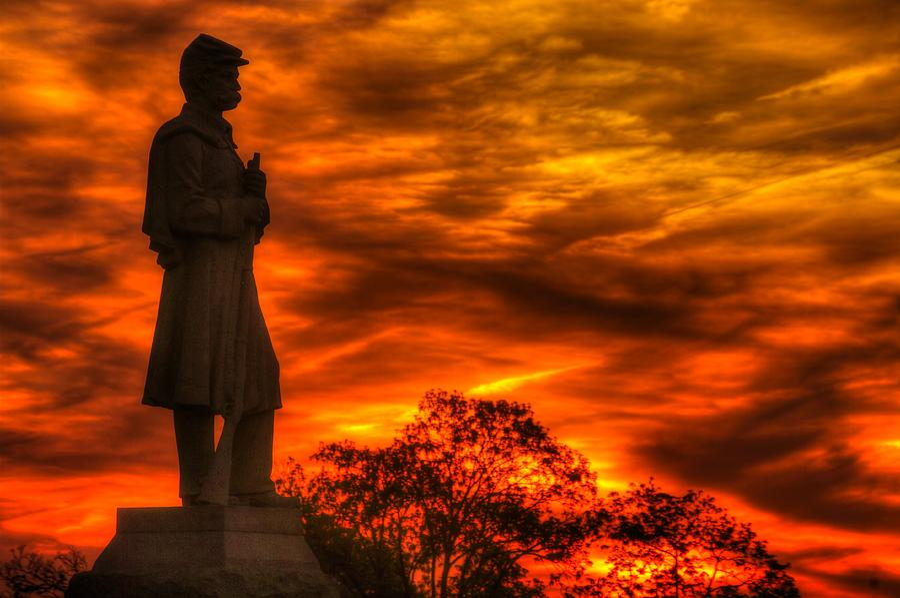 Civil War Photograph - Sky Fire - West Virginia At Gettysburg - 7th Wv Volunteer Infantry Vigilance On East Cemetery Hill by Michael Mazaika
