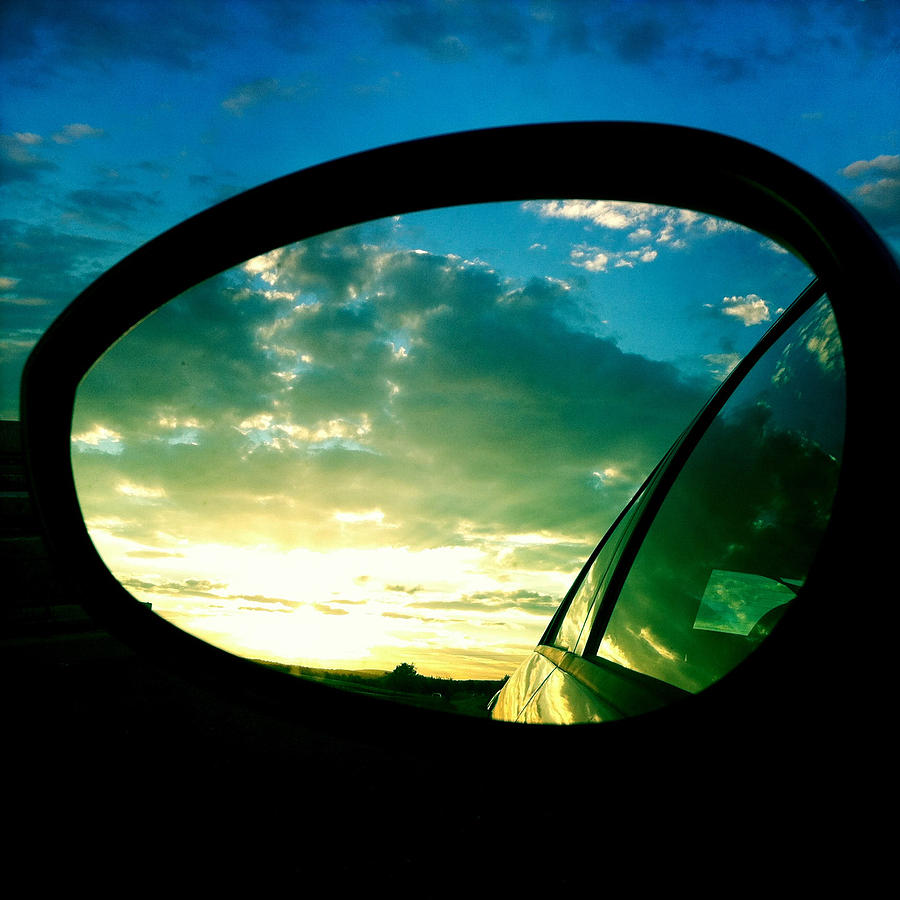 Sky Photograph - Sky in the rear mirror by Matthias Hauser