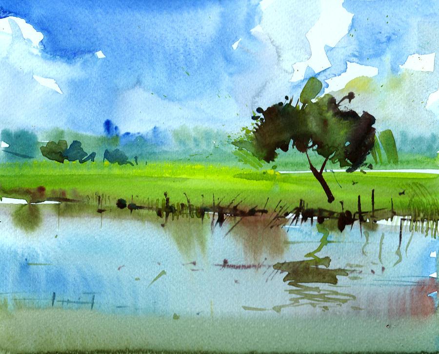 Nature Painting - Sky N Farmland by Anil Nene
