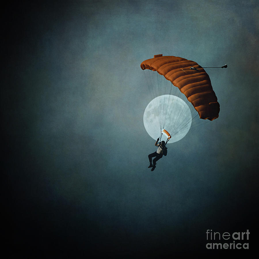 Moon Photograph - Skydivers Moon by Trish Mistric