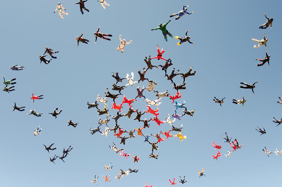 Skydiving big group take off Photograph by Graiki