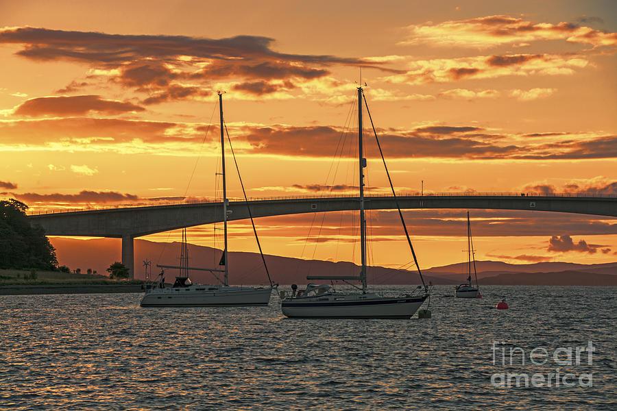 Isle Of Skye Canvas Photograph - Skye Bridge Sunset by Chris Thaxter