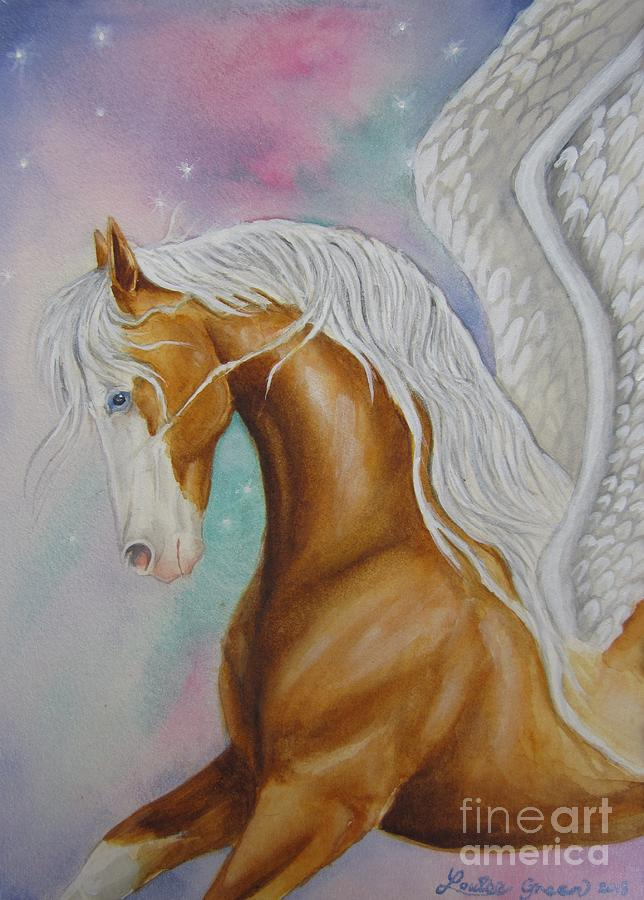 Northern Lights Painting - Skyhorse Aurora by Louise Green