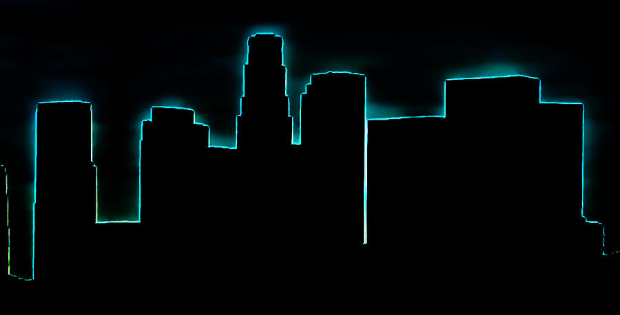 skyline photograph skyline downtown los angeles neon outline by brian yasumura jr