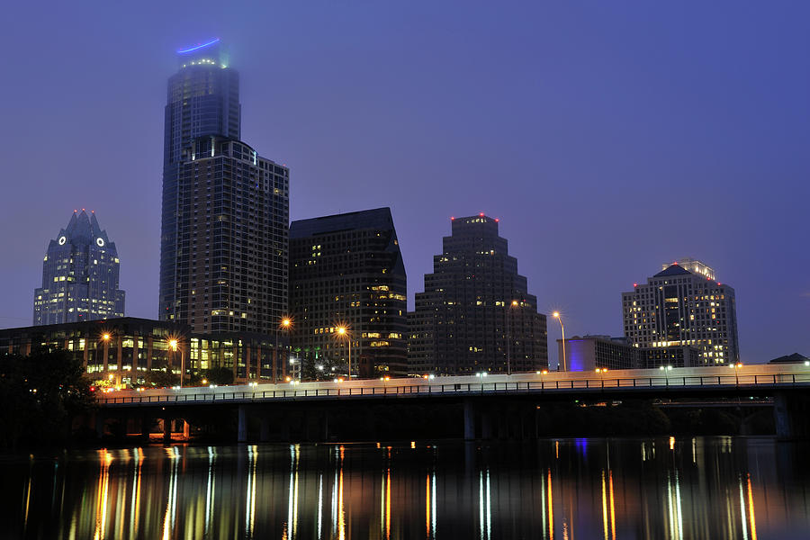 Skyline And Bridge In Austin Photograph by Aimintang