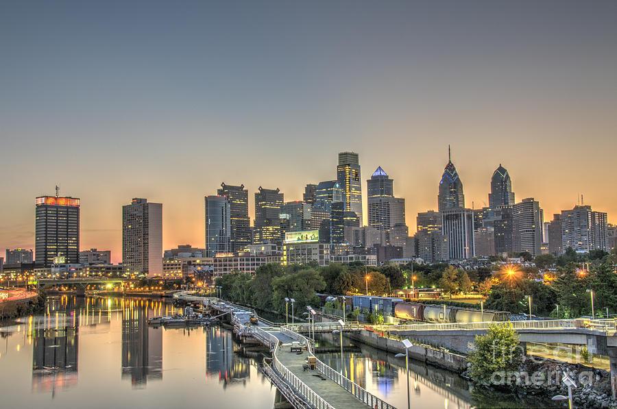 Philadelphia Photograph - Skyline At Dawn by Mark Ayzenberg