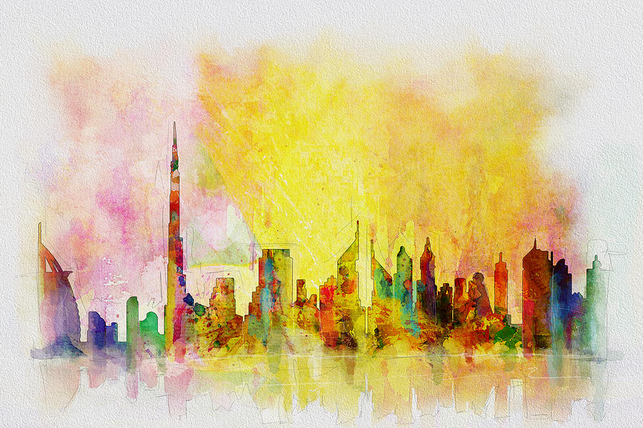 Dubai Painting - Skyline Collage  by Corporate Art Task Force