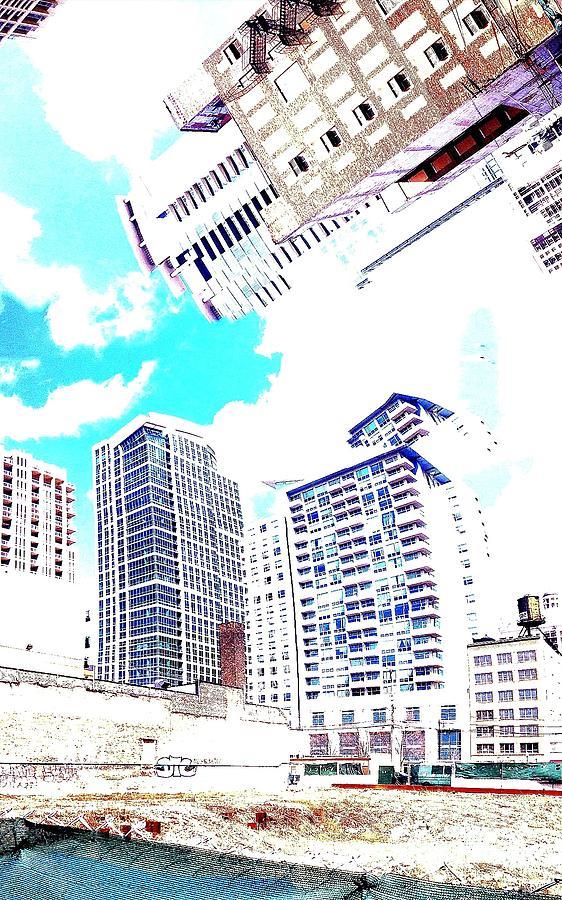 Sky Buildings Surreal  Photograph - Skyline Flowing by Scott Dixon
