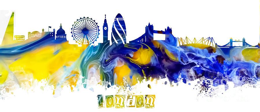 London Digital Art - Skyline London England  by Justyna Jaszke JBJart