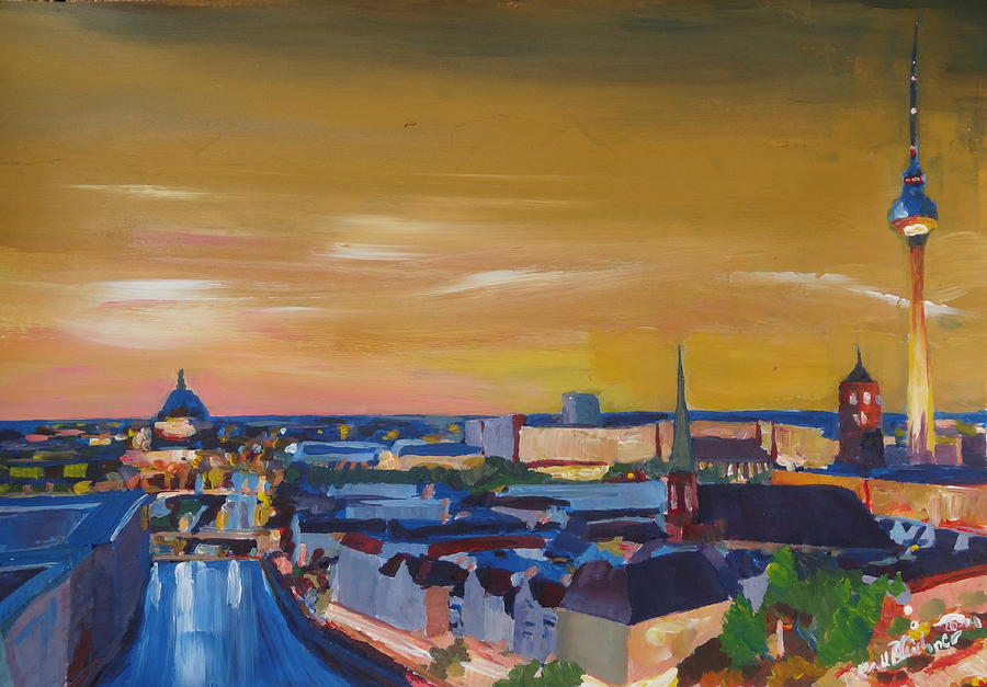 Berlin Painting - Skyline Of Berlin At Sunset by M Bleichner