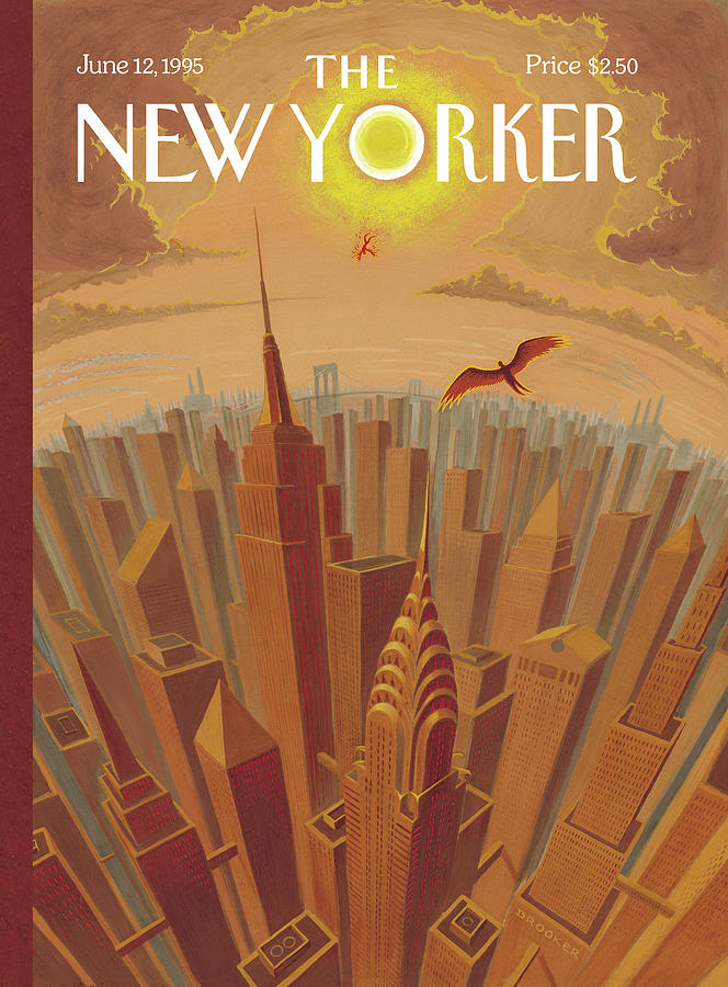 Skyline Of Nyc At Sunset With Icarus Flying Close Painting by Eric Drooker