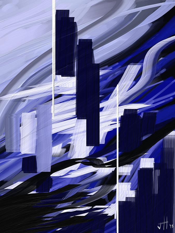 Abstract Painting - Skyline Reflection On Water by Jennifer Hotai