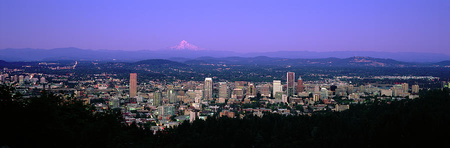 Horizontal Photograph - Skylines In A City With Mt Hood by Panoramic Images