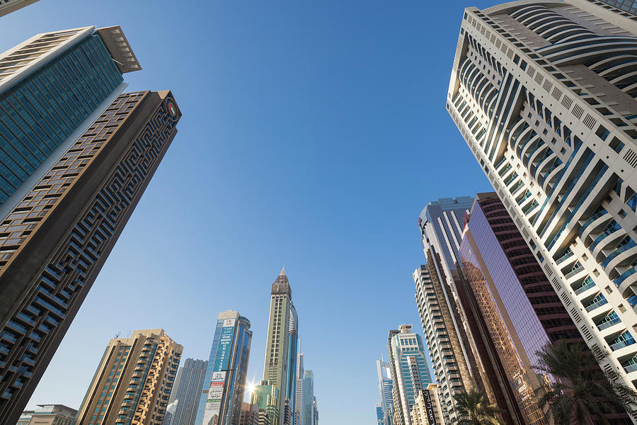 Horizontal Photograph - Skyscrapers Along Sheikh Zayed Road by Panoramic Images