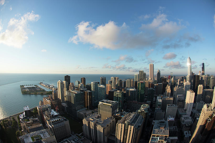 Horizontal Photograph - Skyscrapers In A City, Chicago, Cook by Panoramic Images