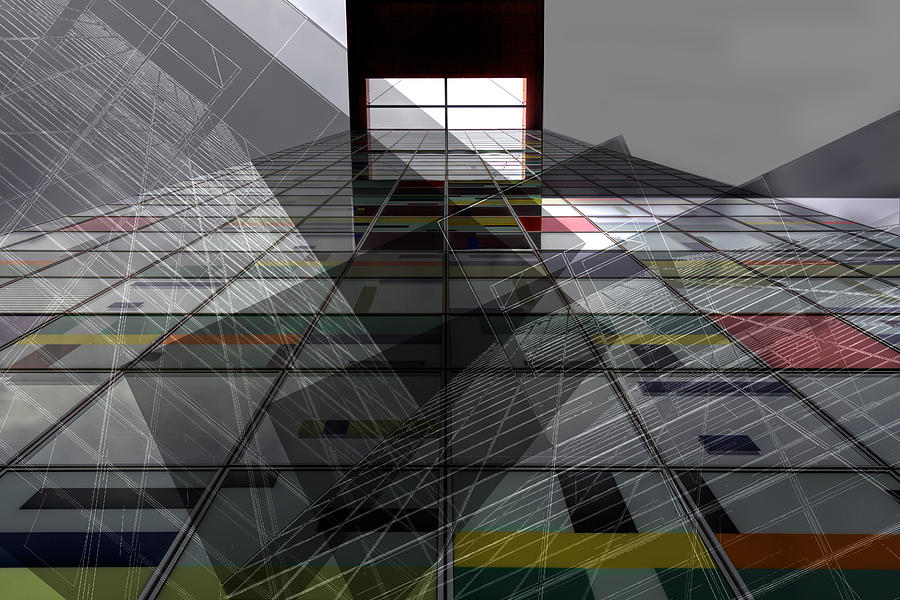 Double Exposure Photograph - Skyward - Steel And Glass Combines by Marianne Wogeck