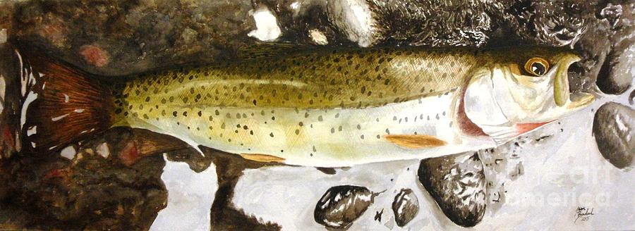 Trout Painting - Slab On The Rocks by Jason Bordash