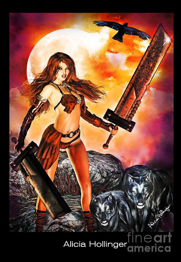 Fantasy Mixed Media - Slashing With Wolves by Alicia Hollinger
