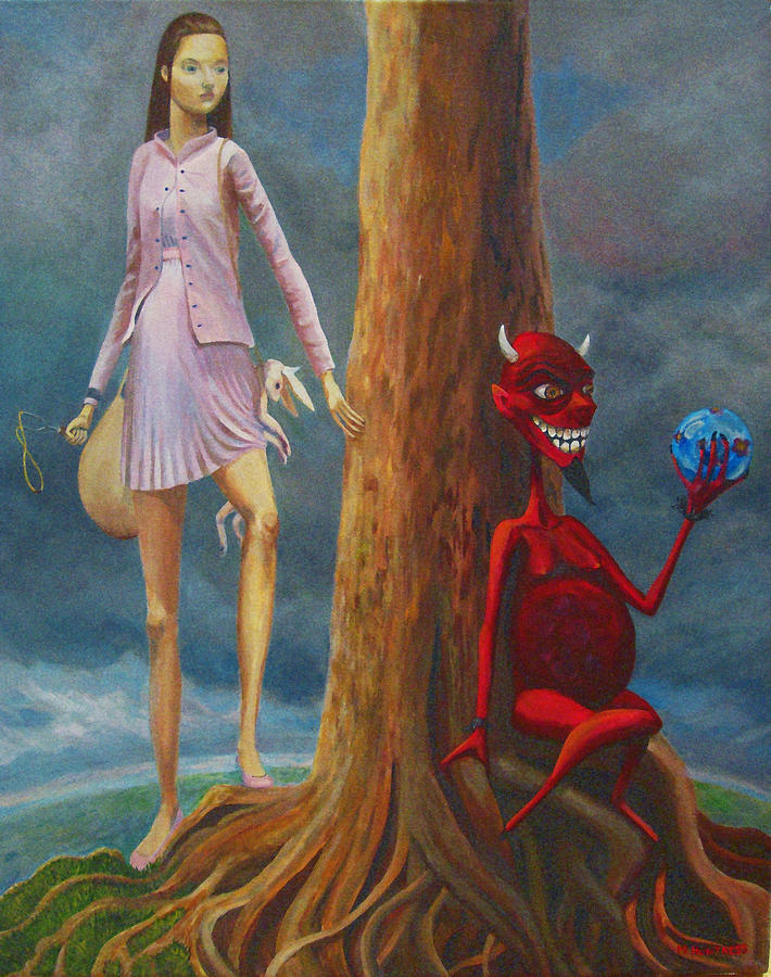 Innocents Painting - Slaying The Devil Who Eats My Dreams by Mindy Huntress
