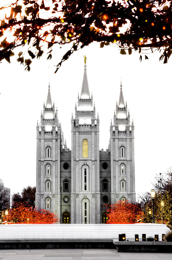 Slc White N Red Temple Photograph by La Rae  Roberts