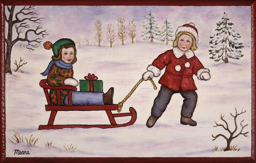 Christmas Painting - Sledding by Linda Mears