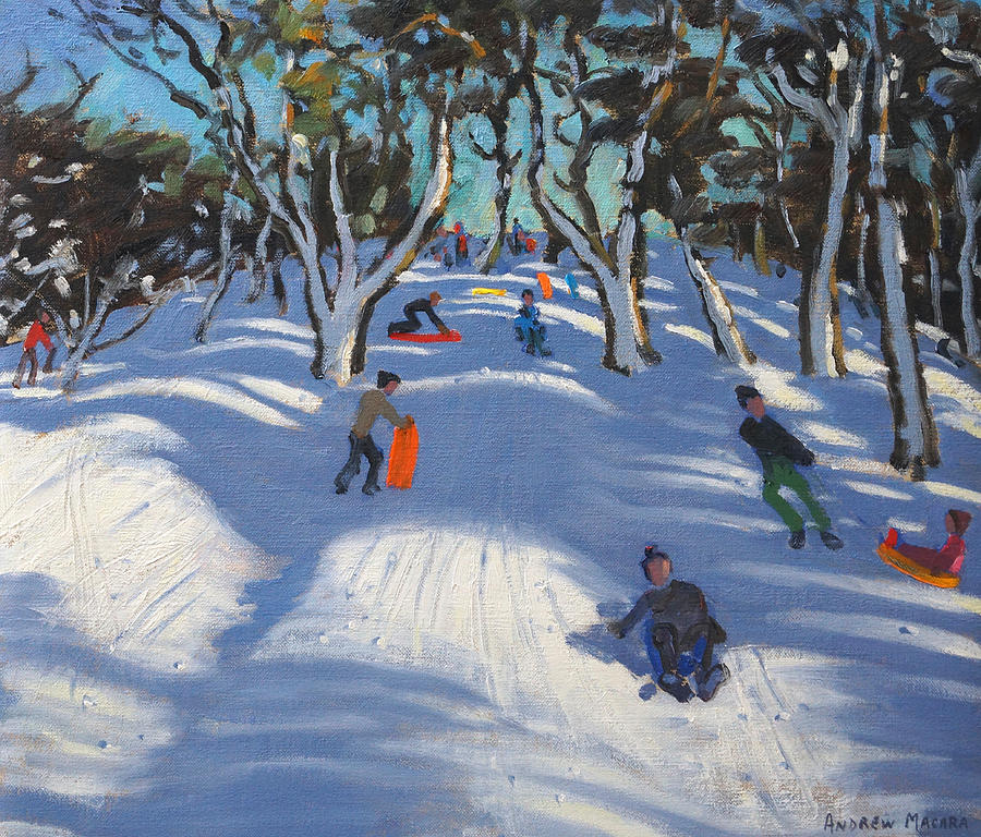 Winter Painting - Sledging At Ladmanlow by Andrew Macara