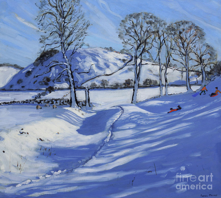 Winter Painting - Sledging  Derbyshire Peak District by Andrew Macara