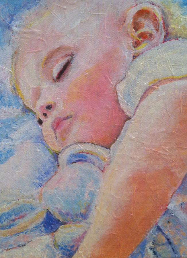 Baby Painting - Sleeping Baby by Deborah Burow