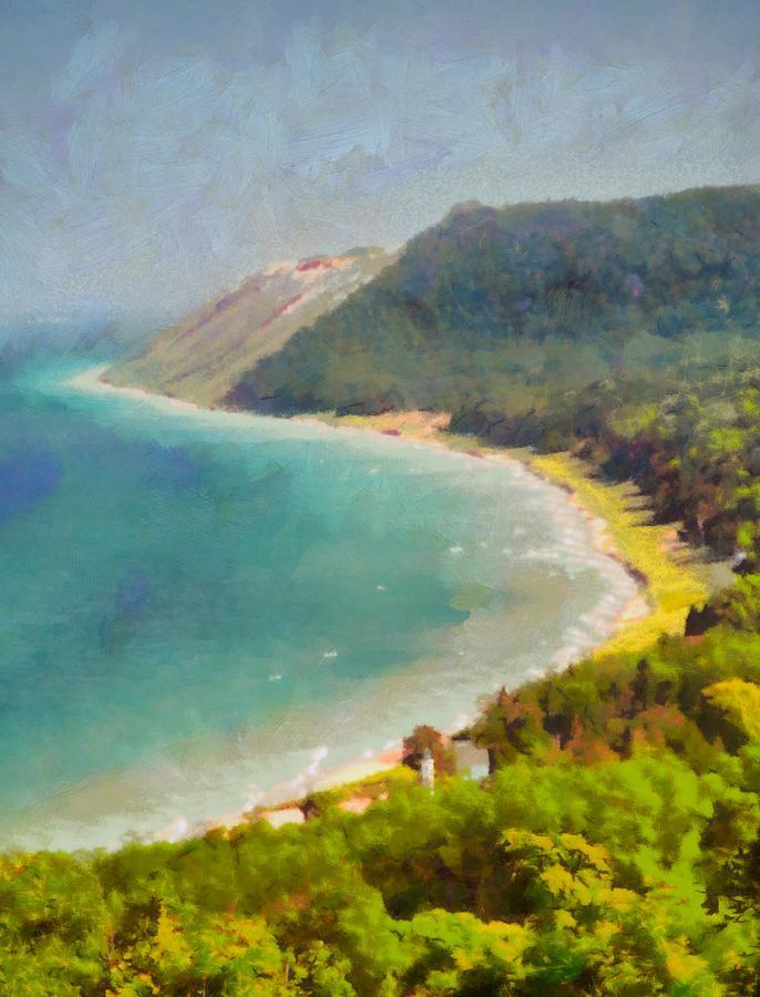 Sleeping Bear Dunes Painting - Sleeping Bear Dunes Lakeshore View by Dan Sproul