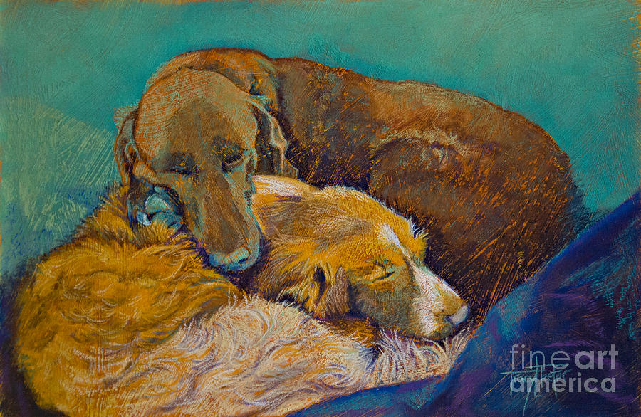 Dogs Pastel - Sleeping Double In A Single Bed by Tracy L Teeter