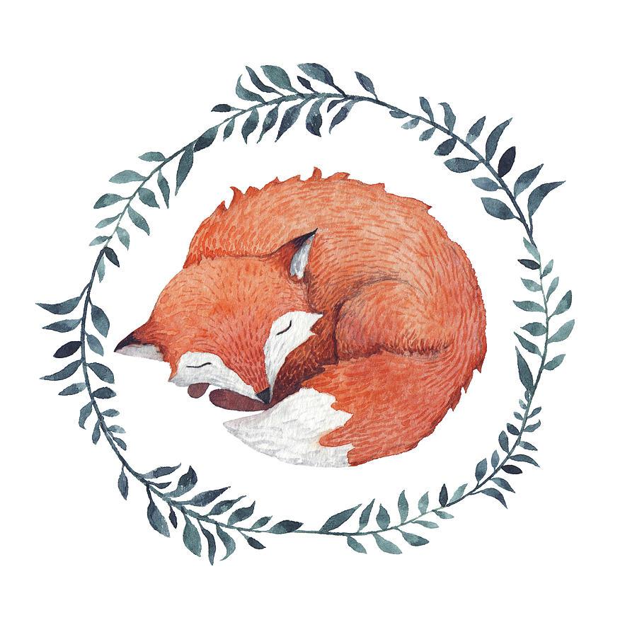 Sleeping Fox Digital Art by Juliia Tochilina