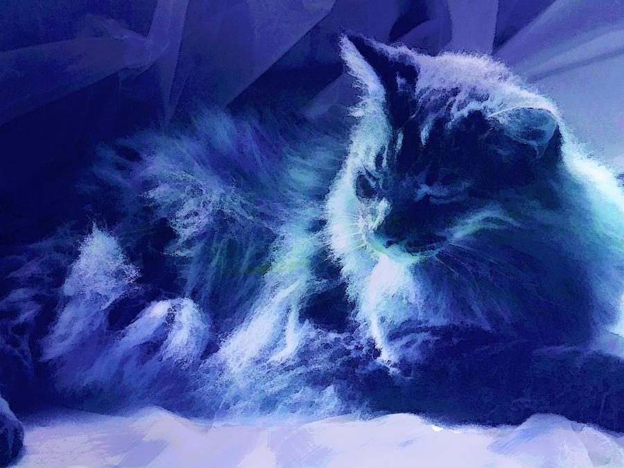 Cat Digital Art - Sleeping In The Sun by Ann Powell