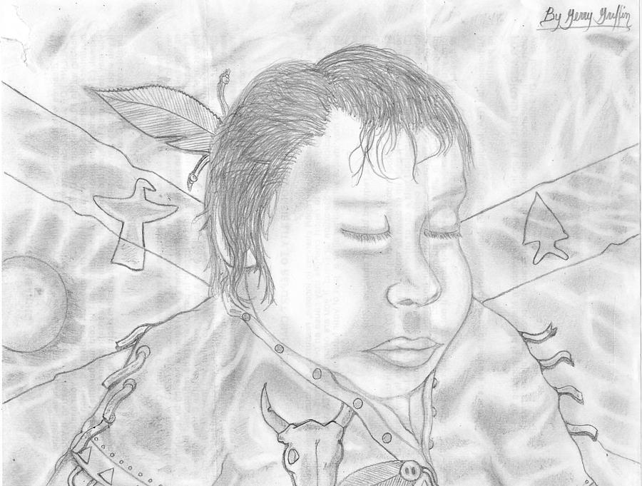 Baby Drawing - Sleeping Indian Baby Boy by Gerald Griffin