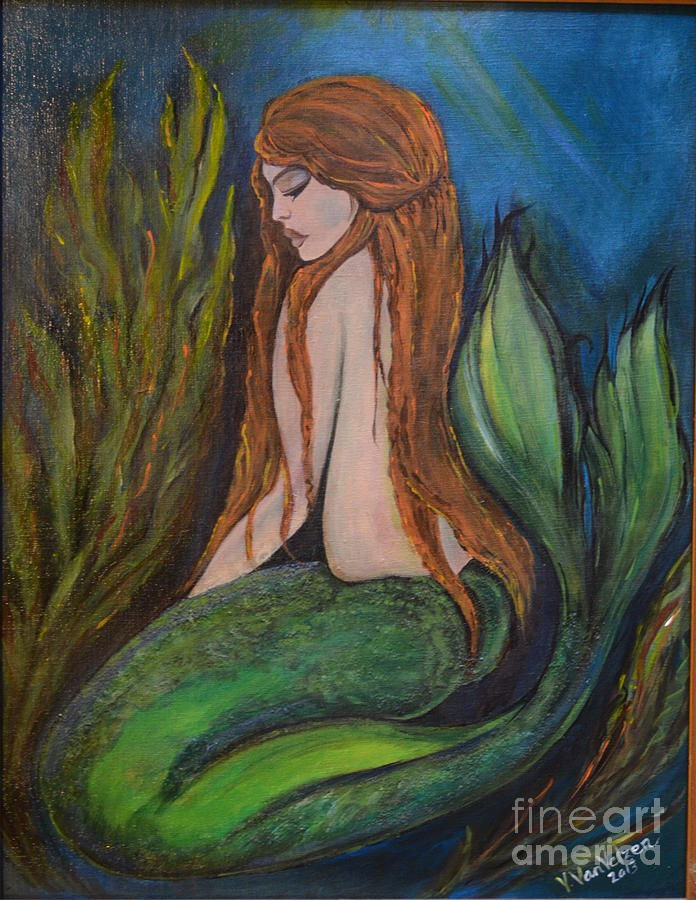 Acrylic Painting - sleeping Mermaid by Valarie Pacheco