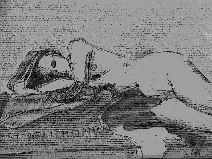 Sleeping Nude Drawing by Don Perino